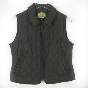 Cabelas olive green quilted zip up vest